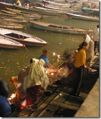 Hindus Putting Lit Candles at Ganges